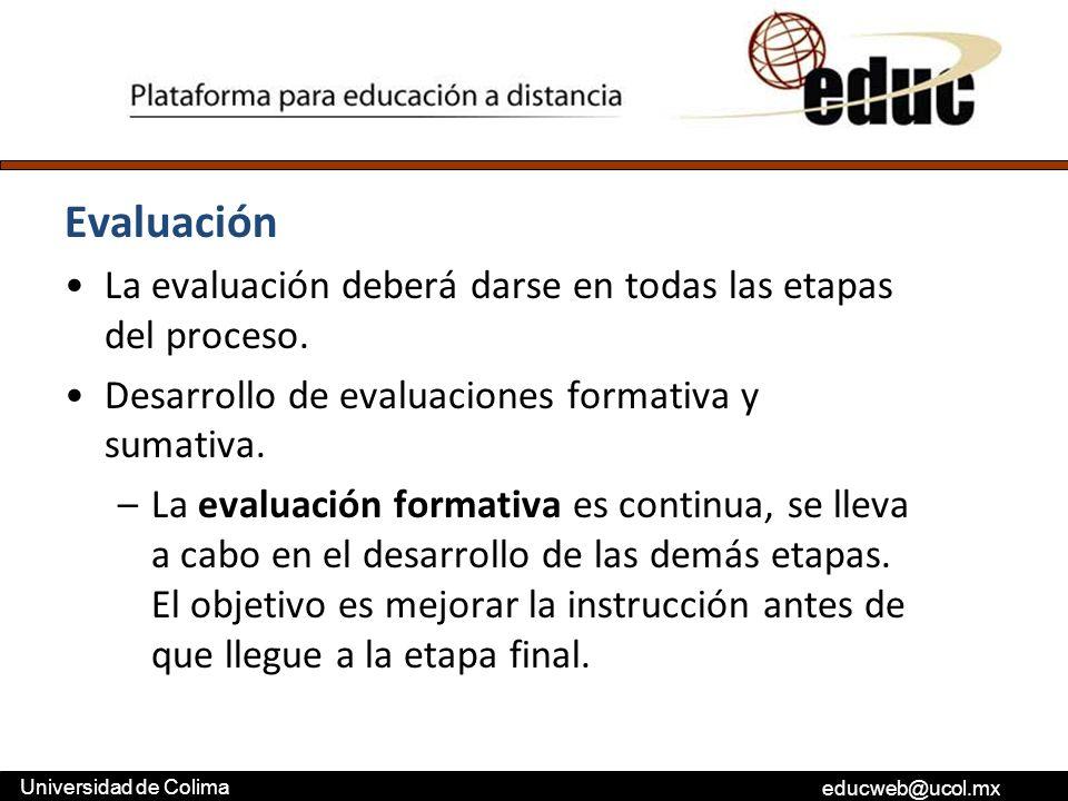 educweb@ucol.mx Universidad de Colima Evaluación La evaluación deberá darse en todas las etapas del proceso. Desarrollo de evaluaciones formativa y su