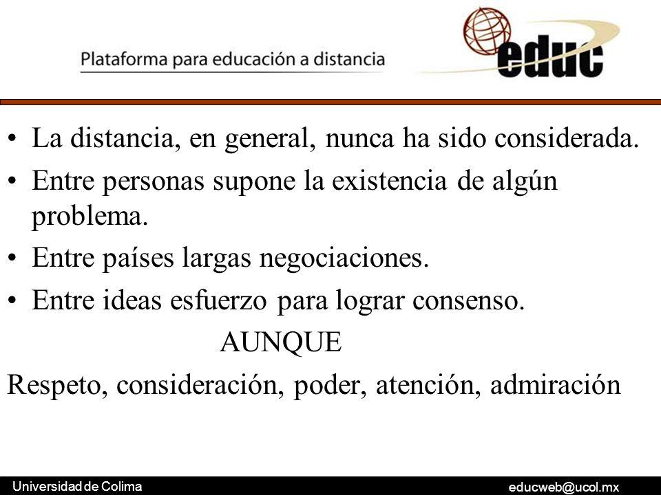 educweb@ucol.mx Universidad de Colima La distancia, en general, nunca ha sido considerada. Entre personas supone la existencia de algún problema. Entr
