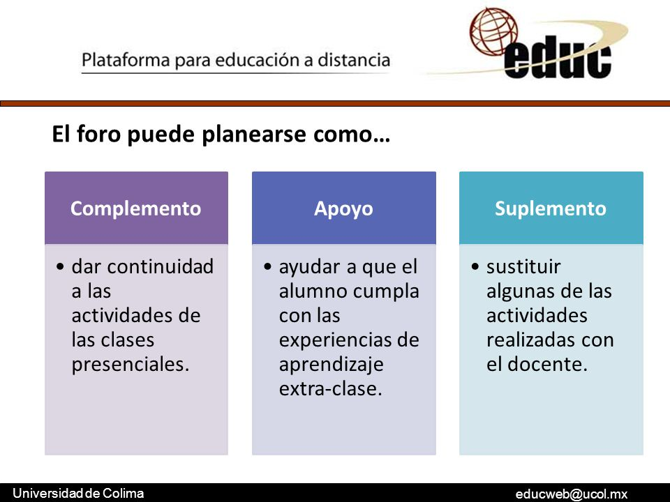 educweb@ucol.mx Universidad de Colima Complemento dar continuidad a las actividades de las clases presenciales. Apoyo ayudar a que el alumno cumpla co