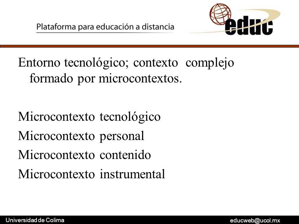 educweb@ucol.mx Universidad de Colima Entorno tecnológico; contexto complejo formado por microcontextos. Microcontexto tecnológico Microcontexto perso