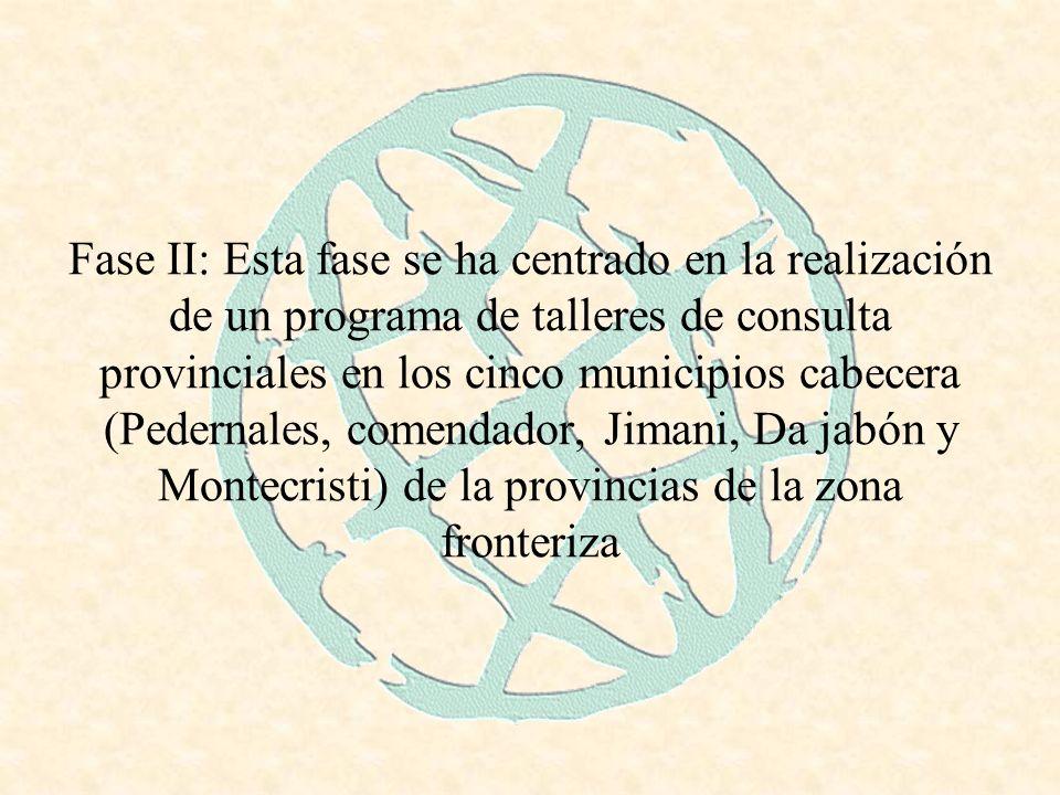 Fase II: Esta fase se ha centrado en la realización de un programa de talleres de consulta provinciales en los cinco municipios cabecera (Pedernales, comendador, Jimani, Da jabón y Montecristi) de la provincias de la zona fronteriza