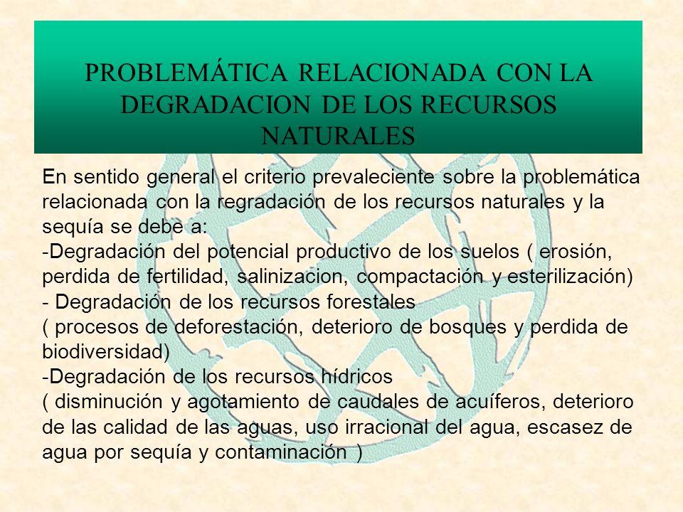 PROBLEMÁTICA RELACIONADA CON LA DEGRADACION DE LOS RECURSOS NATURALES En sentido general el criterio prevaleciente sobre la problemática relacionada con la regradación de los recursos naturales y la sequía se debe a: -Degradación del potencial productivo de los suelos ( erosión, perdida de fertilidad, salinizacion, compactación y esterilización) - Degradación de los recursos forestales ( procesos de deforestación, deterioro de bosques y perdida de biodiversidad) -Degradación de los recursos hídricos ( disminución y agotamiento de caudales de acuíferos, deterioro de las calidad de las aguas, uso irracional del agua, escasez de agua por sequía y contaminación )