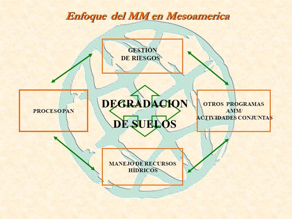 Enfoque del MM en Mesoamerica GESTIÓN DE RIESGOS MANEJO DE RECURSOS HÍDRICOS PROCESO PAN OTROS PROGRAMAS AMM/ ACTIVIDADES CONJUNTAS DEGRADACION DE SUELOS