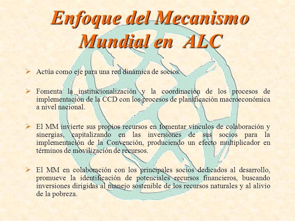 Enfoque del Mecanismo Mundial en ALC Promueve plataformas de asociación multiparticipativas con los diferentes actores involucrados con el fin de identificar necesidades, prioridades y nichos de oportunidades para inversiones enfocadas a la implementación de la CCD.