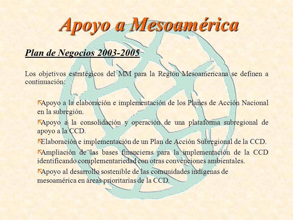 Apoyo a Mesoamérica Plan de Negocios 2003-2005 Los objetivos estratégicos del MM para la Región Mesoamericana se definen a continuación: ãApoyo a la elaboración e implementación de los Planes de Acción Nacional en la subregión.