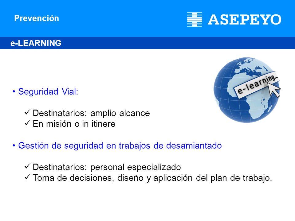 Prevención e-LEARNING Seguridad Vial: Destinatarios: amplio alcance En misión o in itinere Gestión de seguridad en trabajos de desamiantado Destinatar