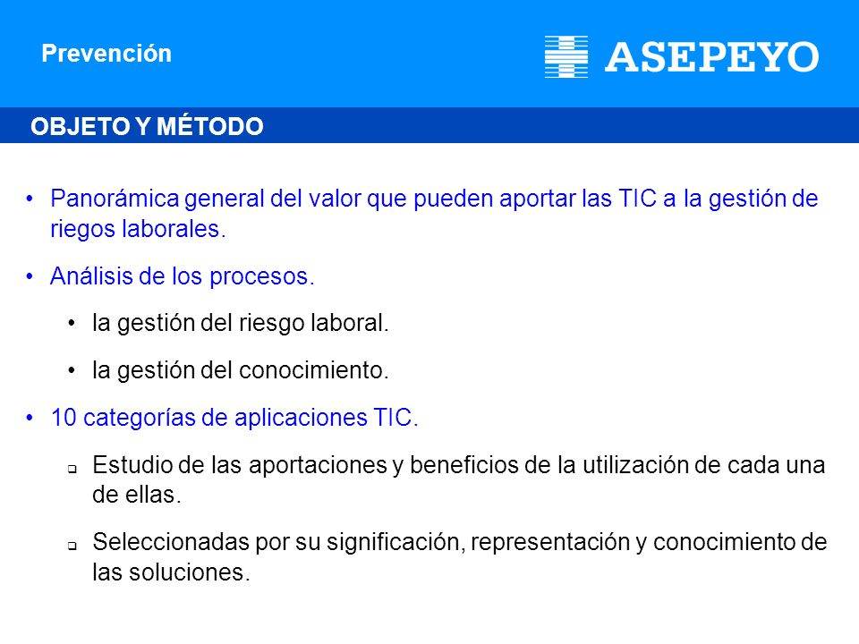 Prevención 10 categorías de aplicaciones TIC Comunicación, registro e información sobre los accidentes de trabajo y enfermedades profesionales en españa.