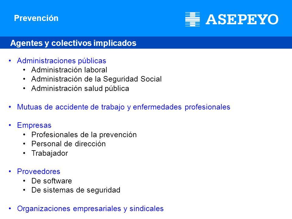 Prevención Agentes y colectivos implicados Administraciones públicas Administración laboral Administración de la Seguridad Social Administración salud