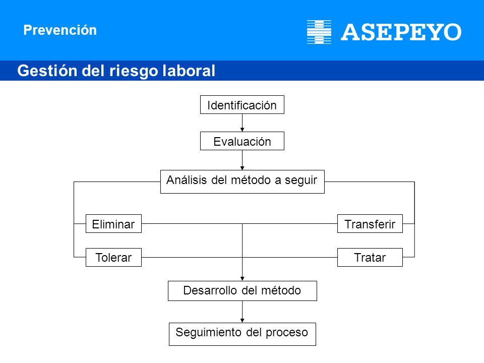 Prevención Gestión del riesgo laboral Identificación Evaluación Análisis del método a seguir Eliminar Tolerar Transferir Tratar Desarrollo del método