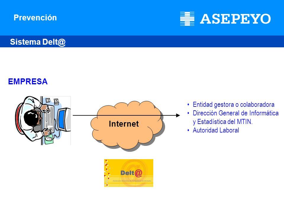 Prevención Internet EMPRESA Sistema Delt@ Entidad gestora o colaboradora Dirección General de Informática y Estadística del MTIN. Autoridad Laboral