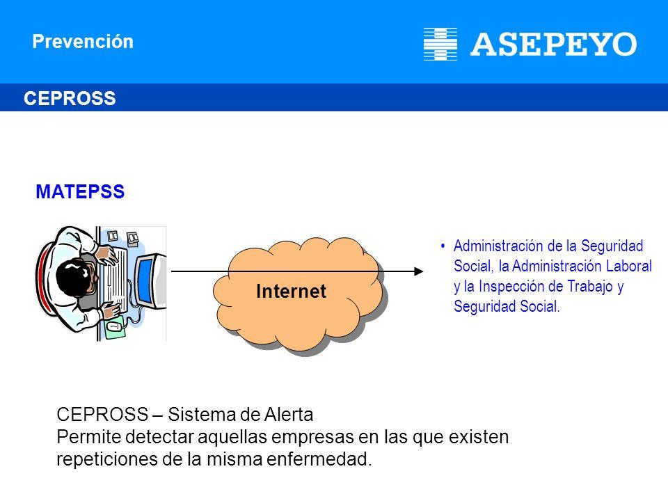 Prevención Internet MATEPSS CEPROSS Administración de la Seguridad Social, la Administración Laboral y la Inspección de Trabajo y Seguridad Social. CE