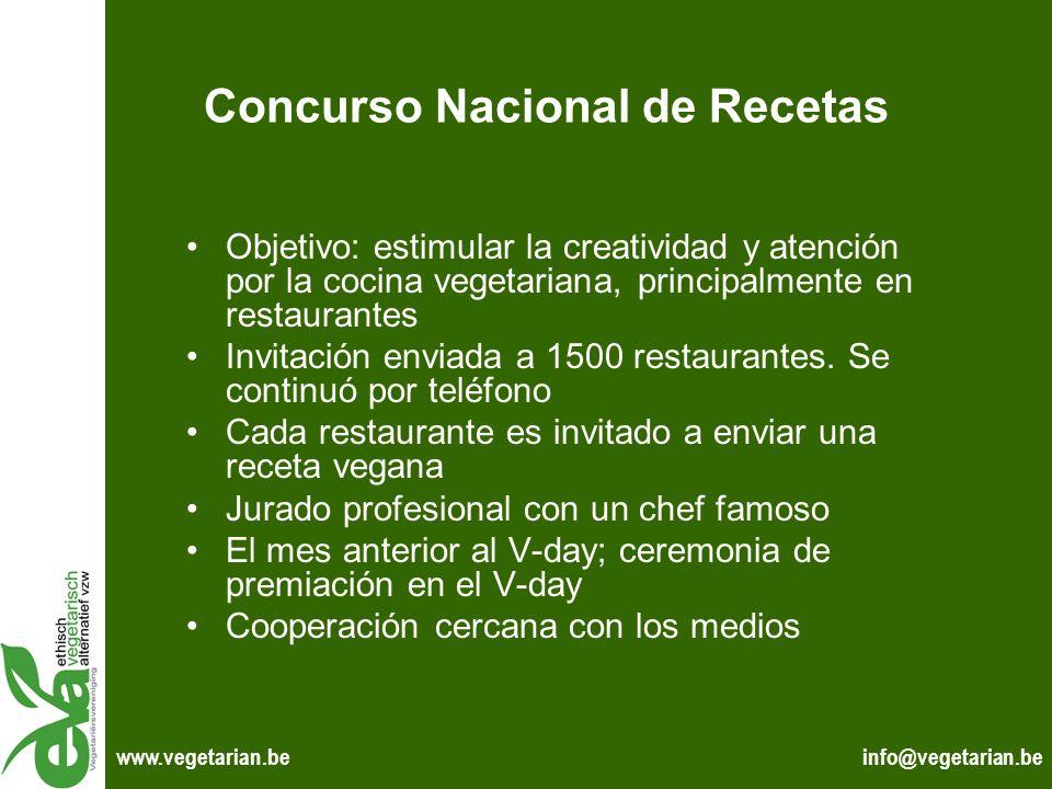 info@vegetarian.bewww.vegetarian.be Concurso Nacional de Recetas Objetivo: estimular la creatividad y atención por la cocina vegetariana, principalmen