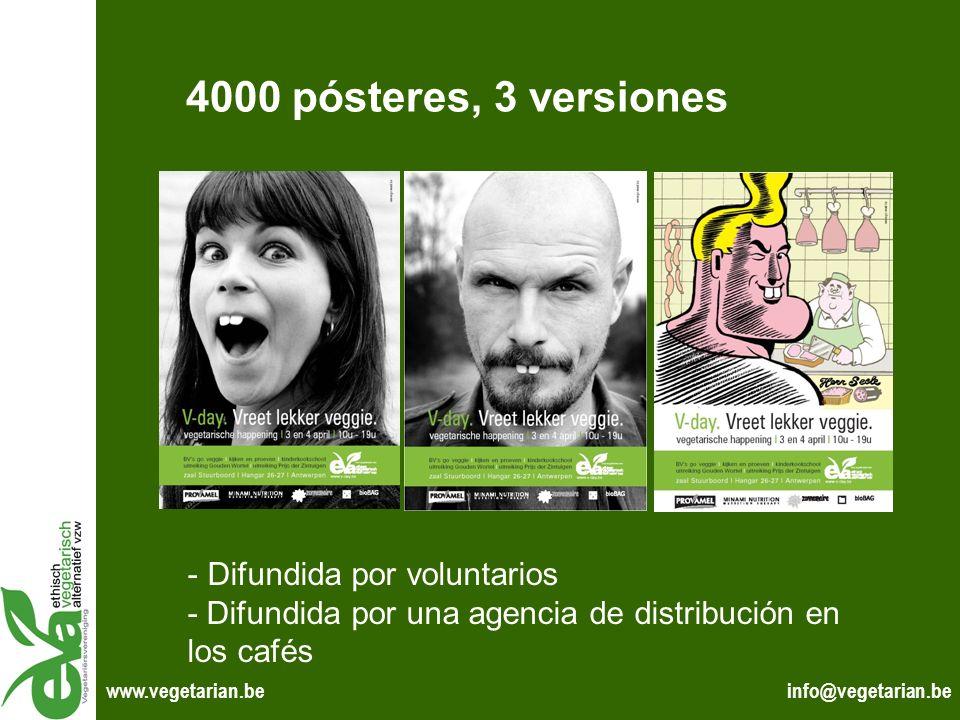 info@vegetarian.bewww.vegetarian.be 4000 pósteres, 3 versiones - Difundida por voluntarios - Difundida por una agencia de distribución en los cafés