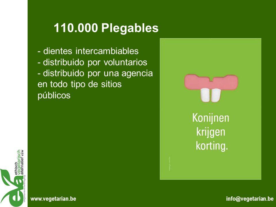 info@vegetarian.bewww.vegetarian.be 110.000 Plegables - dientes intercambiables - distribuido por voluntarios - distribuido por una agencia en todo ti