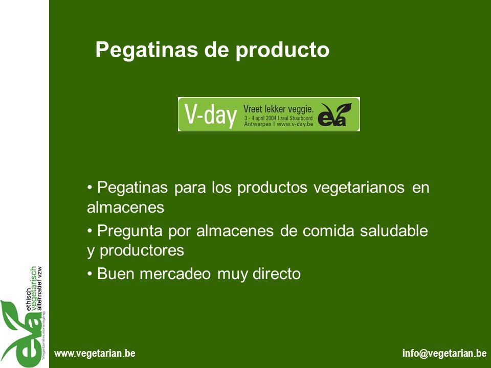 info@vegetarian.bewww.vegetarian.be Pegatinas de producto Pegatinas para los productos vegetarianos en almacenes Pregunta por almacenes de comida salu