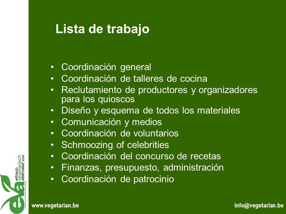 info@vegetarian.bewww.vegetarian.be Lista de trabajo Coordinación general Coordinación de talleres de cocina Reclutamiento de productores y organizado