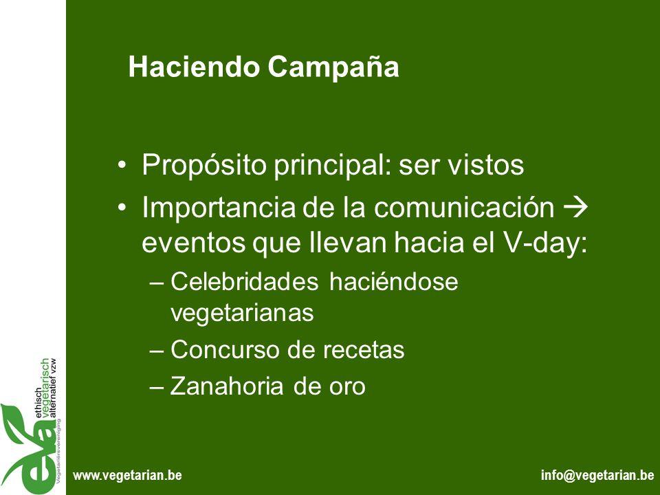 info@vegetarian.bewww.vegetarian.be Haciendo Campaña Propósito principal: ser vistos Importancia de la comunicación eventos que llevan hacia el V-day: