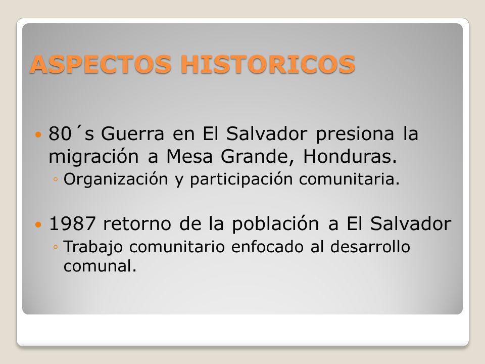 ASPECTOS HISTORICOS 80´s Guerra en El Salvador presiona la migración a Mesa Grande, Honduras. Organización y participación comunitaria. 1987 retorno d
