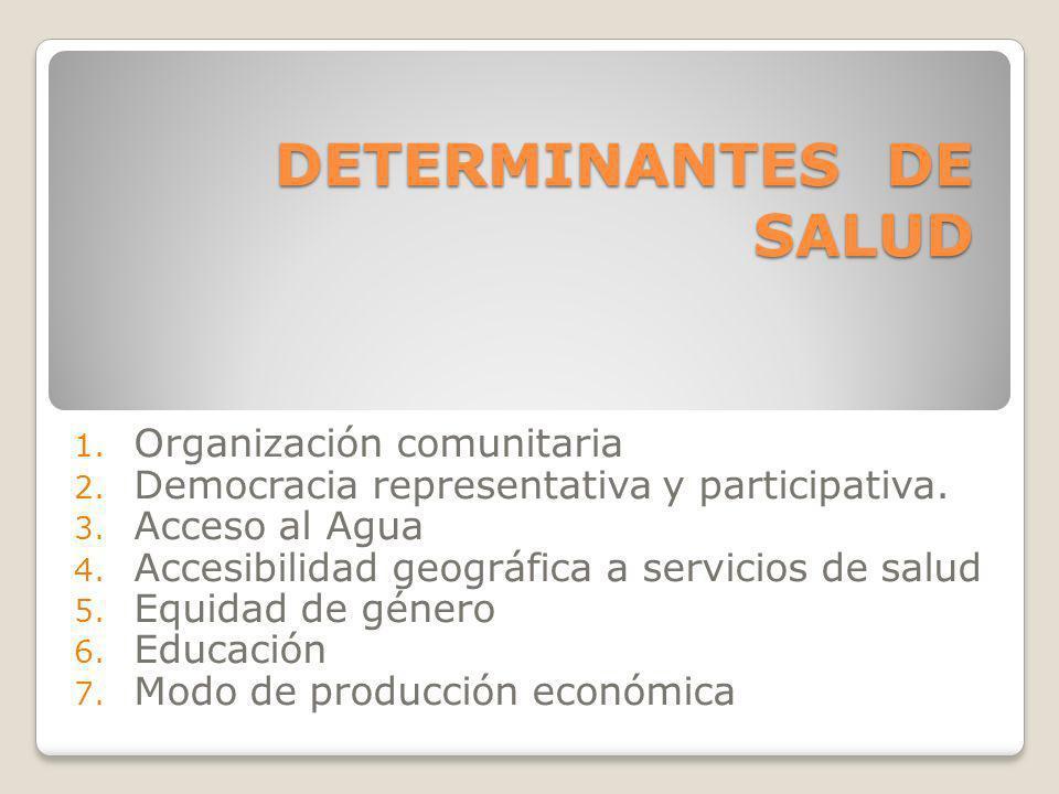 DETERMINANTES DE SALUD 1. Organización comunitaria 2. Democracia representativa y participativa. 3. Acceso al Agua 4. Accesibilidad geográfica a servi