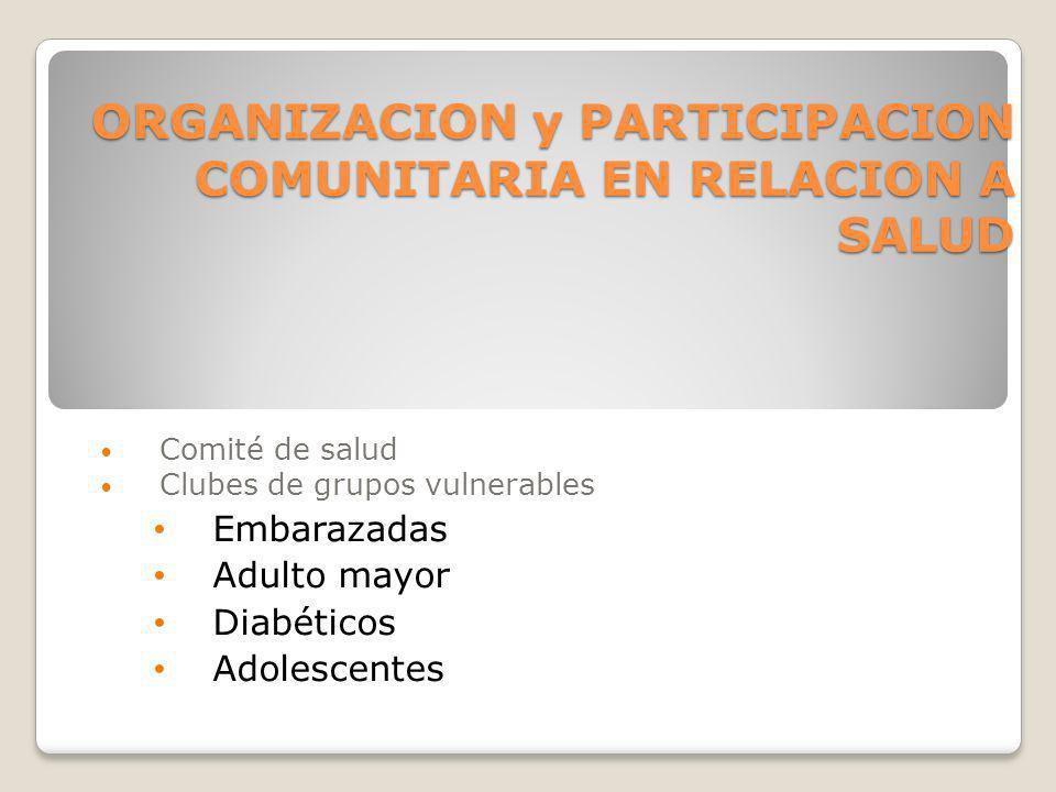 ORGANIZACION y PARTICIPACION COMUNITARIA EN RELACION A SALUD Comité de salud Clubes de grupos vulnerables Embarazadas Adulto mayor Diabéticos Adolesce