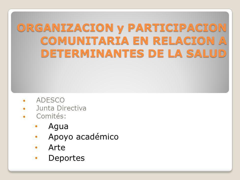 ORGANIZACION y PARTICIPACION COMUNITARIA EN RELACION A DETERMINANTES DE LA SALUD ADESCO Junta Directiva Comités: Agua Apoyo académico Arte Deportes