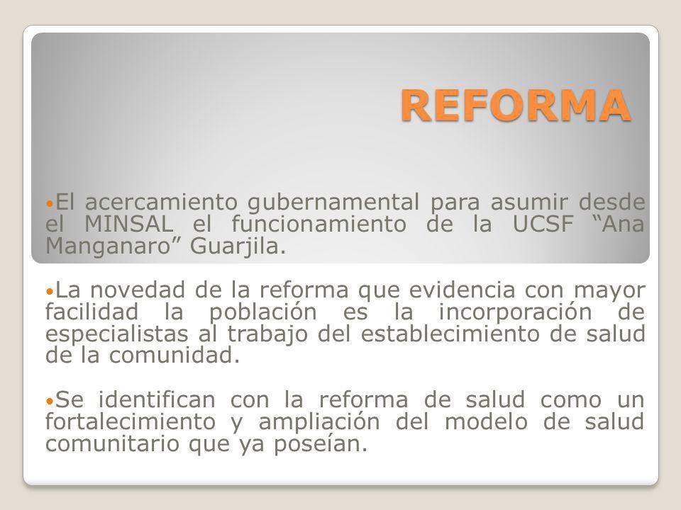 REFORMA El acercamiento gubernamental para asumir desde el MINSAL el funcionamiento de la UCSF Ana Manganaro Guarjila. La novedad de la reforma que ev