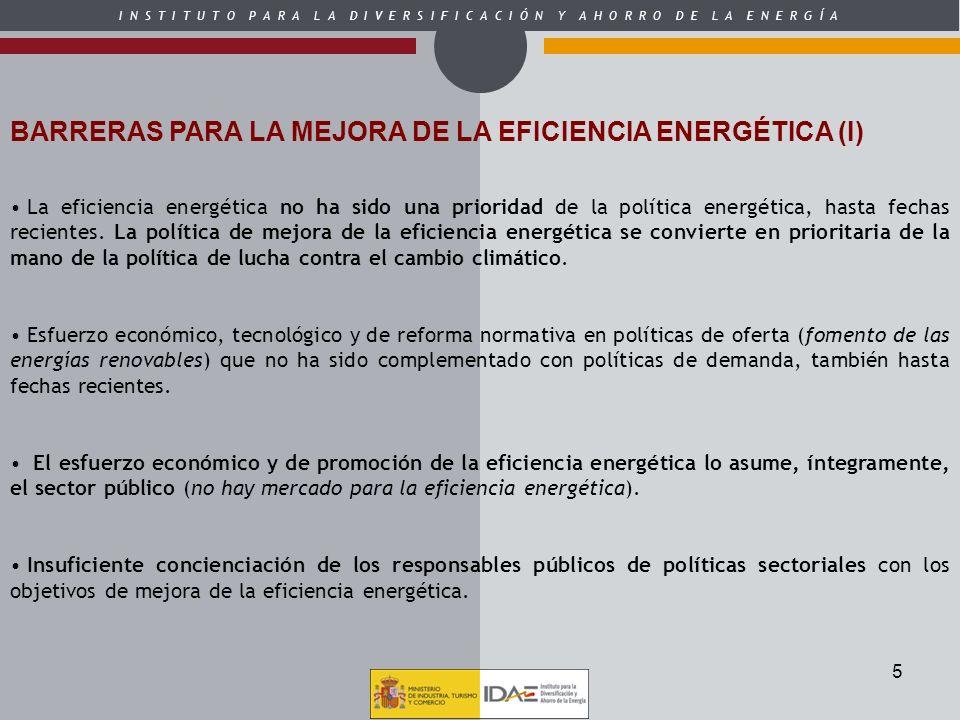 5 BARRERAS PARA LA MEJORA DE LA EFICIENCIA ENERGÉTICA (I) La eficiencia energética no ha sido una prioridad de la política energética, hasta fechas re