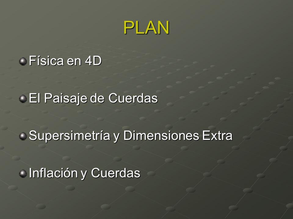 PLAN Física en 4D El Paisaje de Cuerdas Supersimetría y Dimensiones Extra Inflación y Cuerdas