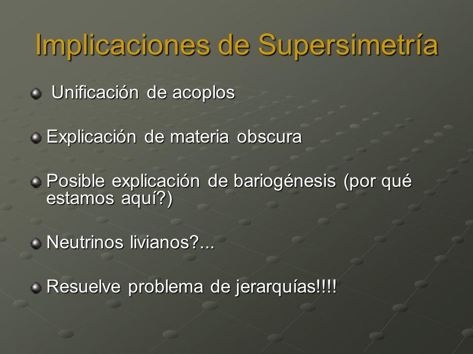 Implicaciones de Supersimetría Unificación de acoplos Unificación de acoplos Explicación de materia obscura Posible explicación de bariogénesis (por q
