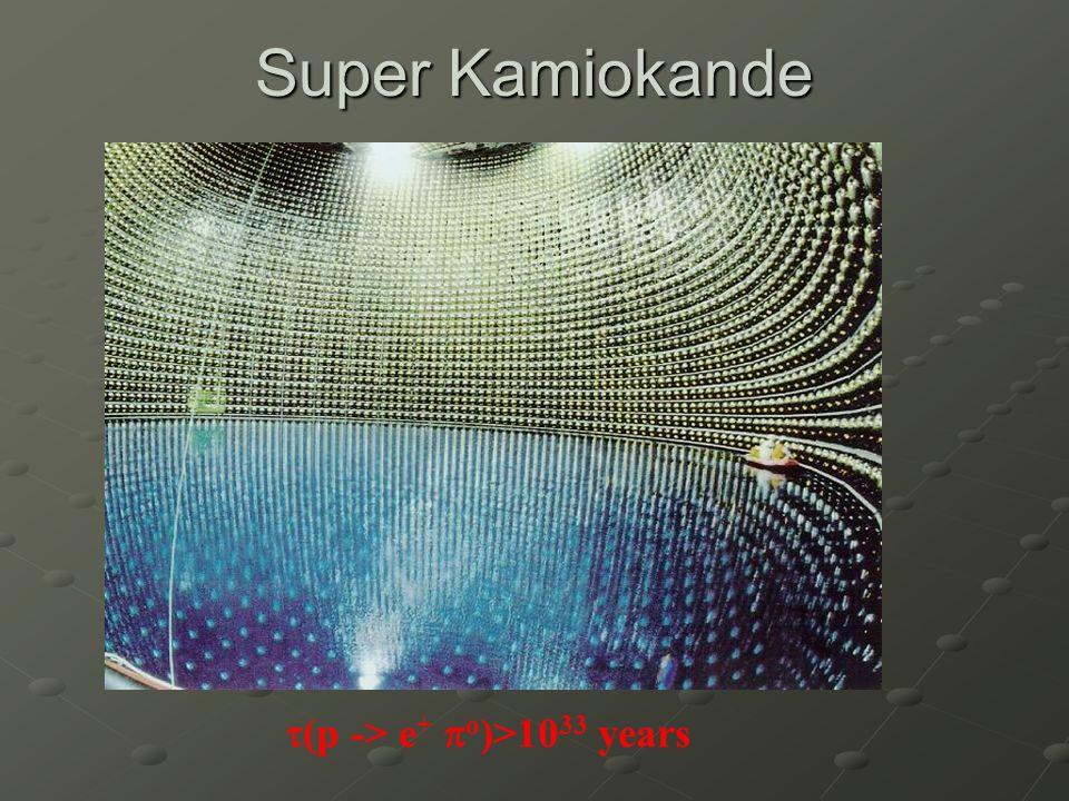 Super Kamiokande (p -> e + o )>10 33 years