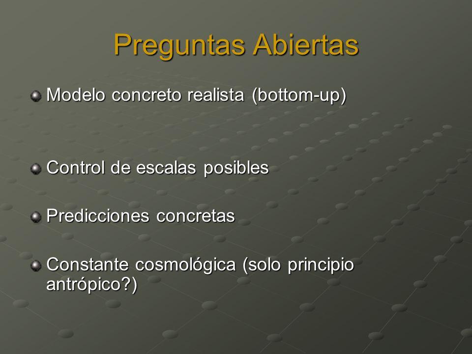 Preguntas Abiertas Modelo concreto realista (bottom-up) Control de escalas posibles Predicciones concretas Constante cosmológica (solo principio antrópico )