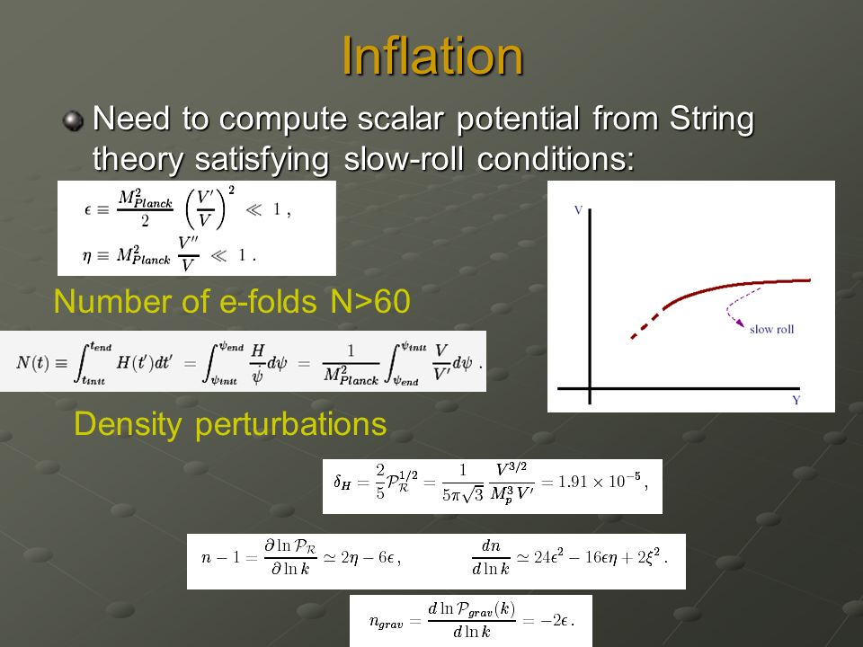 Inflation Need to compute scalar potential from String theory satisfying slow-roll conditions: Number of e-folds N>60 Density perturbations