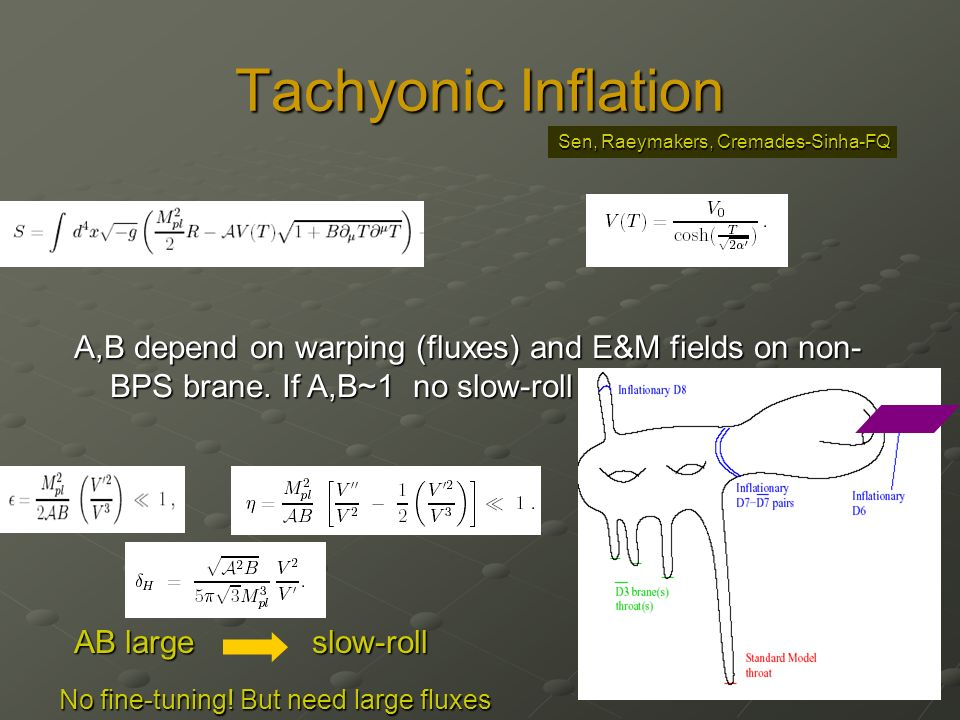 Tachyonic Inflation A,B depend on warping (fluxes) and E&M fields on non- BPS brane. If A,B~1 no slow-roll AB large slow-roll No fine-tuning! But need