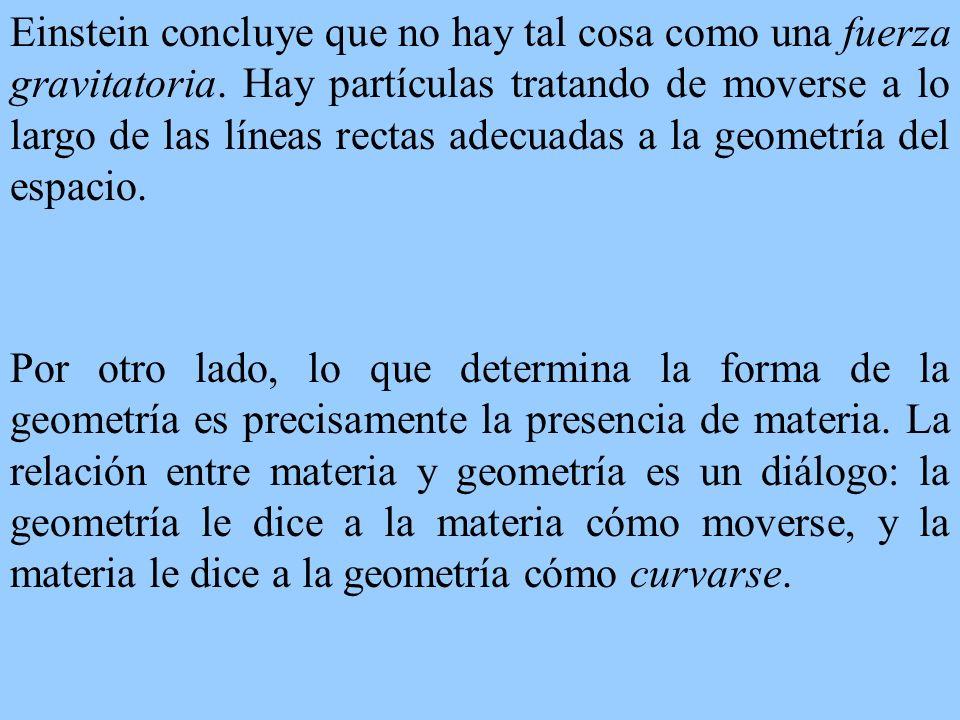 Einstein concluye que no hay tal cosa como una fuerza gravitatoria. Hay partículas tratando de moverse a lo largo de las líneas rectas adecuadas a la