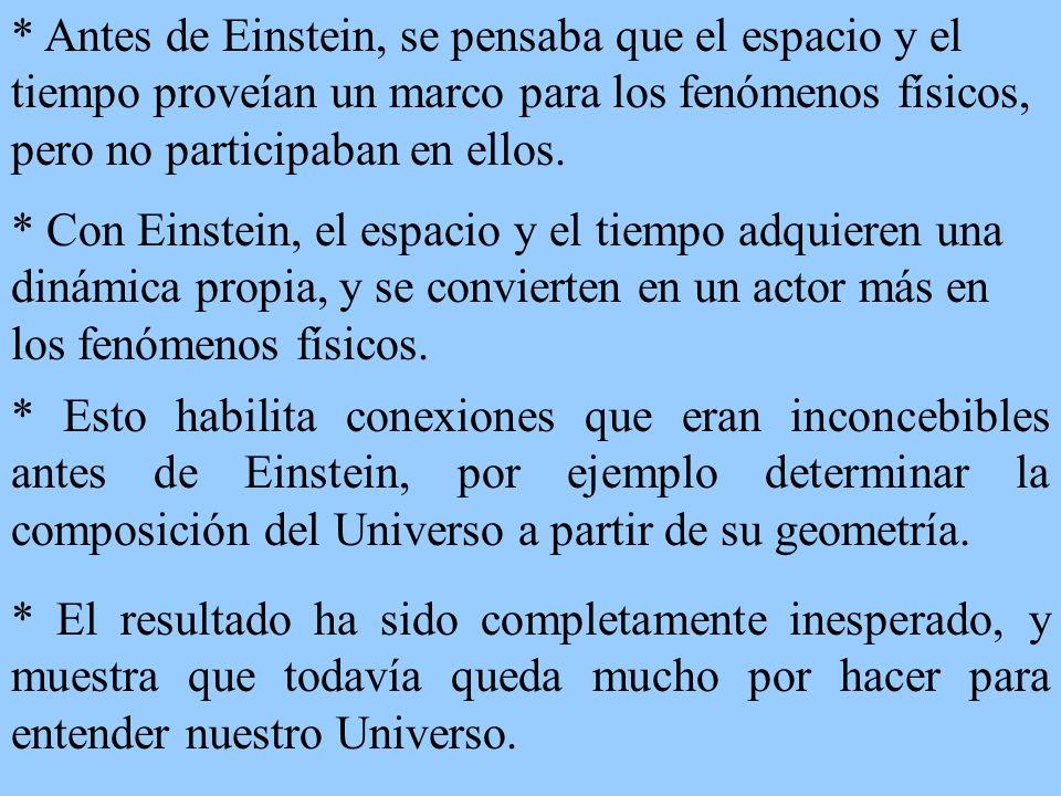 * Antes de Einstein, se pensaba que el espacio y el tiempo proveían un marco para los fenómenos físicos, pero no participaban en ellos. * Con Einstein