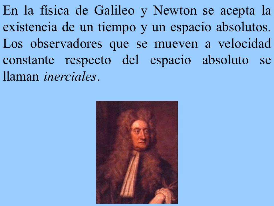 En la física de Galileo y Newton se acepta la existencia de un tiempo y un espacio absolutos. Los observadores que se mueven a velocidad constante res