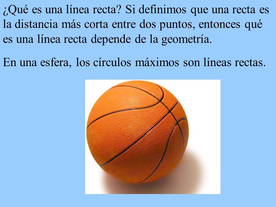¿Qué es una línea recta? Si definimos que una recta es la distancia más corta entre dos puntos, entonces qué es una línea recta depende de la geometrí