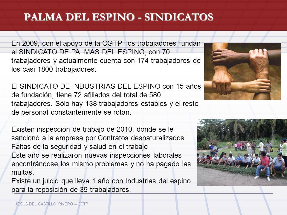 JESUS DEL CASTILLO RIVERO – CGTP PALMA DEL ESPINO - SINDICATOS En 2009, con el apoyo de la CGTP los trabajadores fundan el SINDICATO DE PALMAS DEL ESP