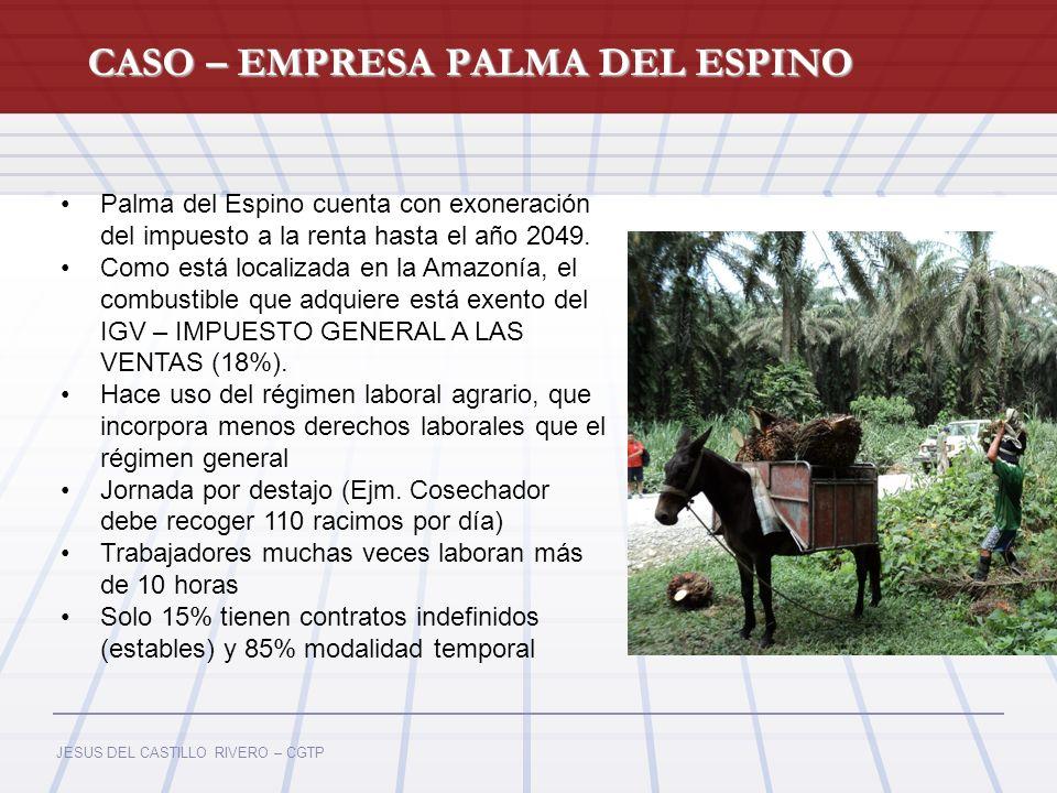 JESUS DEL CASTILLO RIVERO – CGTP CASO – EMPRESA PALMA DEL ESPINO Fuente: Ministerio de Energía y Minas (MEM) Palma del Espino cuenta con exoneración d