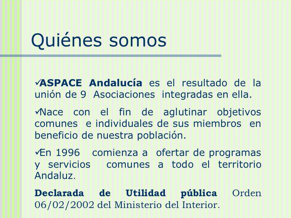 Quiénes somos ASPACE Andalucía es el resultado de la unión de 9 Asociaciones integradas en ella. Nace con el fin de aglutinar objetivos comunes e indi