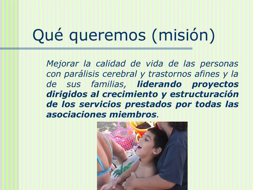 Qué queremos (misión) Mejorar la calidad de vida de las personas con parálisis cerebral y trastornos afines y la de sus familias, liderando proyectos
