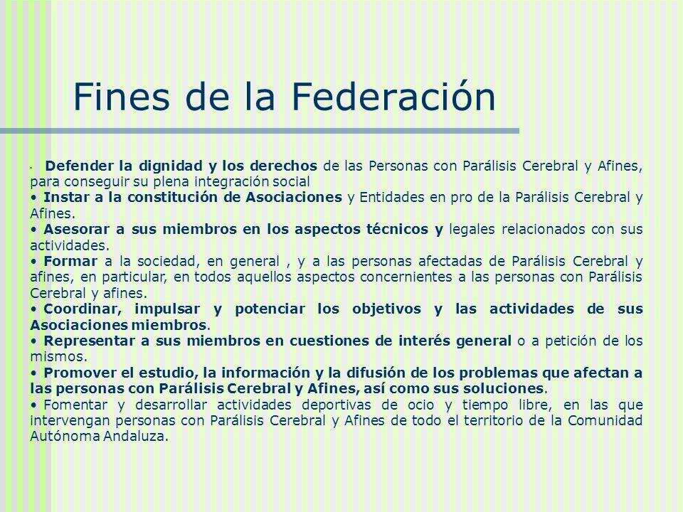 Fines de la Federación Defender la dignidad y los derechos de las Personas con Parálisis Cerebral y Afines, para conseguir su plena integración social