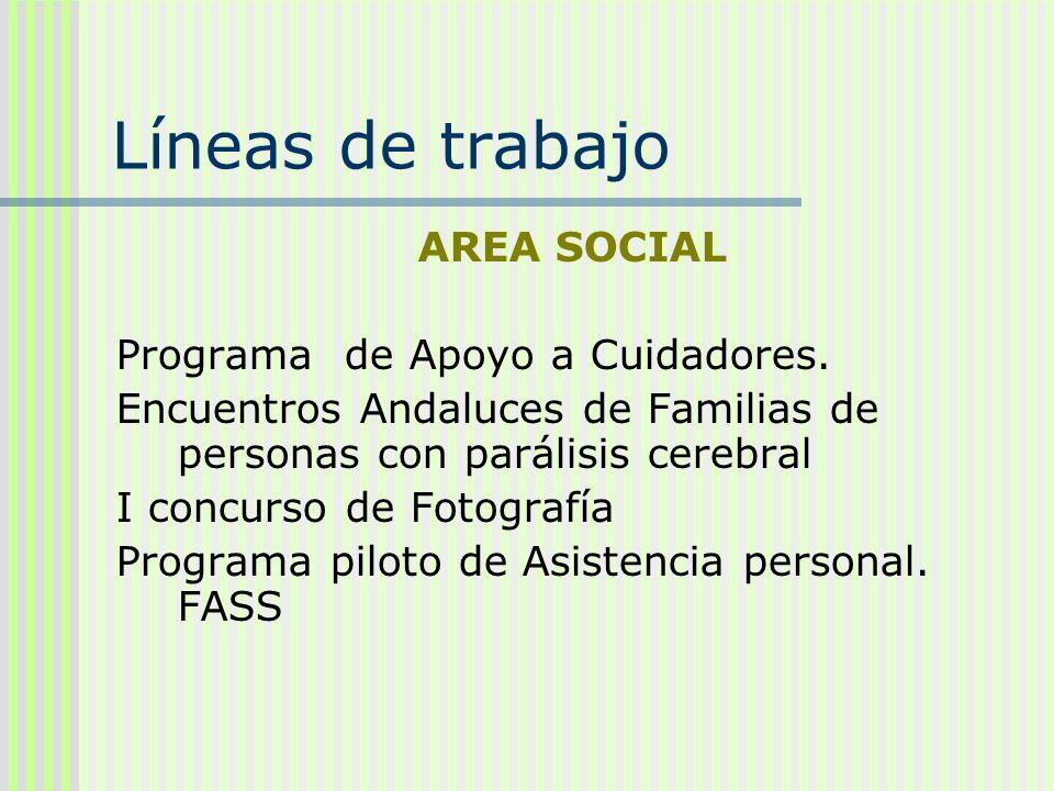 Líneas de trabajo AREA SOCIAL Programa de Apoyo a Cuidadores. Encuentros Andaluces de Familias de personas con parálisis cerebral I concurso de Fotogr