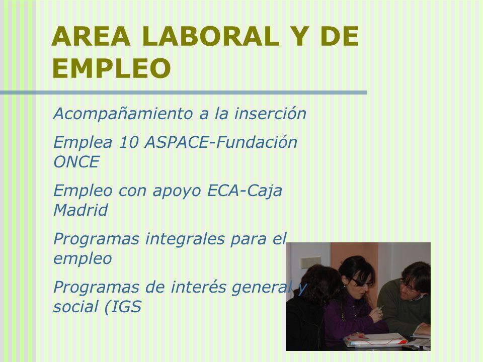 AREA LABORAL Y DE EMPLEO Acompañamiento a la inserción Emplea 10 ASPACE-Fundación ONCE Empleo con apoyo ECA-Caja Madrid Programas integrales para el e