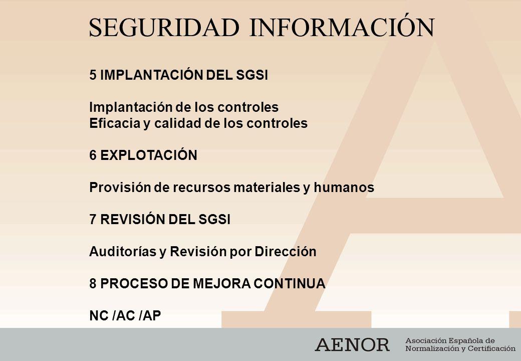 SEGURIDAD INFORMACIÓN 5 IMPLANTACIÓN DEL SGSI Implantación de los controles Eficacia y calidad de los controles 6 EXPLOTACIÓN Provisión de recursos ma