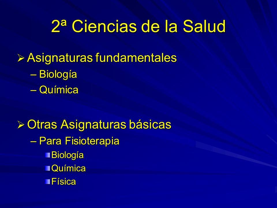 2ª Ciencias de la Salud Asignaturas fundamentales Asignaturas fundamentales –Biología –Química Otras Asignaturas básicas Otras Asignaturas básicas –Para Fisioterapia BiologíaQuímicaFísica