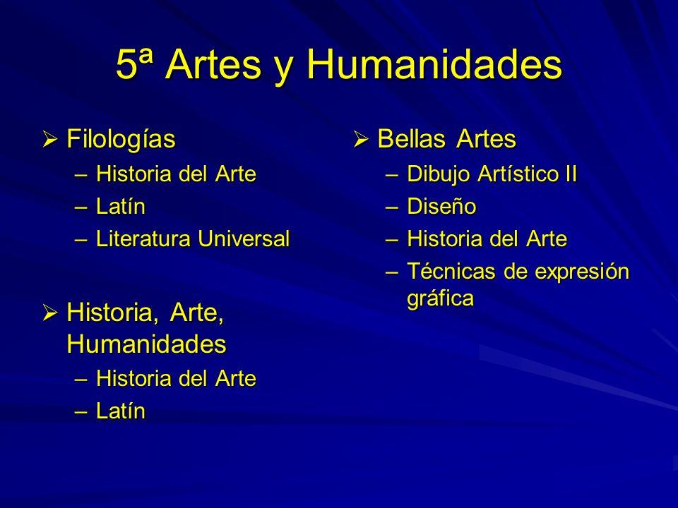 5ª Artes y Humanidades Filologías Filologías –Historia del Arte –Latín –Literatura Universal Historia, Arte, Humanidades Historia, Arte, Humanidades –