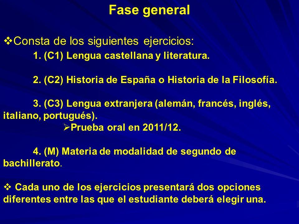 Fase general Consta de los siguientes ejercicios: 1. (C1) Lengua castellana y literatura. 2. (C2) Historia de España o Historia de la Filosofía. 3. (C