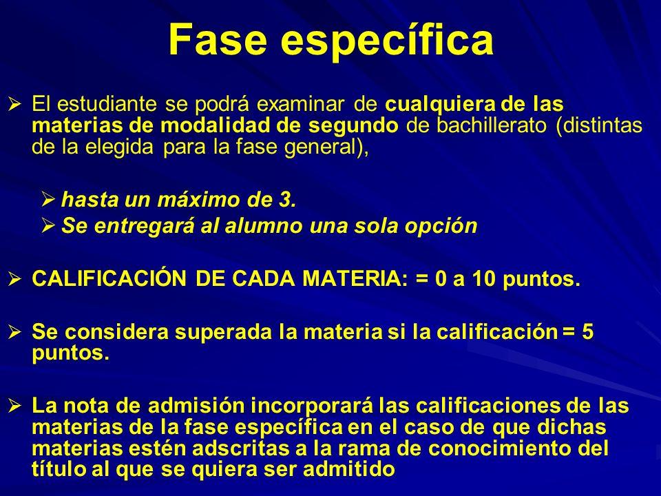 Fase específica El estudiante se podrá examinar de cualquiera de las materias de modalidad de segundo de bachillerato (distintas de la elegida para la fase general), hasta un máximo de 3.