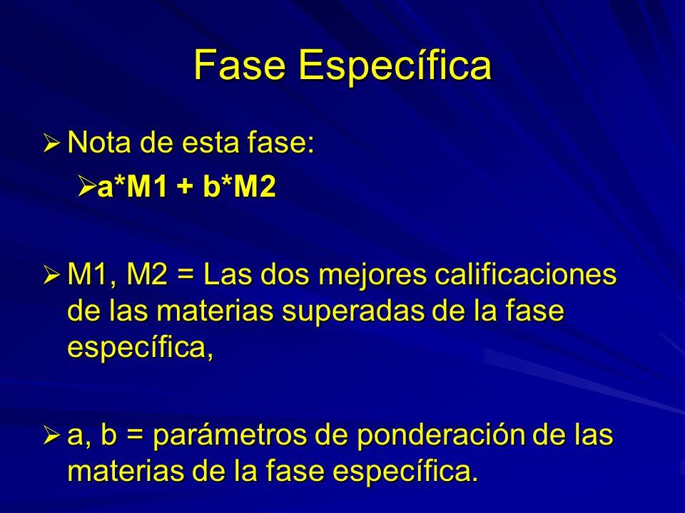 Fase Específica Nota de esta fase: Nota de esta fase: a*M1 + b*M2 a*M1 + b*M2 M1, M2 = Las dos mejores calificaciones de las materias superadas de la fase específica, M1, M2 = Las dos mejores calificaciones de las materias superadas de la fase específica, a, b = parámetros de ponderación de las materias de la fase específica.